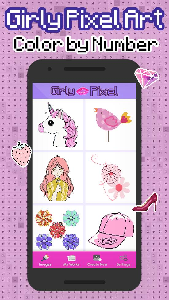 Girly Pixel Art Girls Color By Number For Android Apk