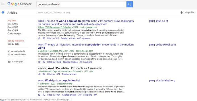 Google Scholar (Go Scholar) screenshot 2