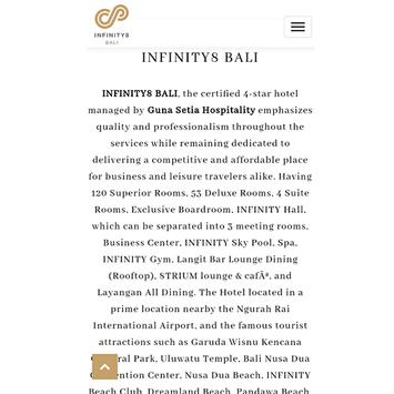INFINITY8 BALI poster