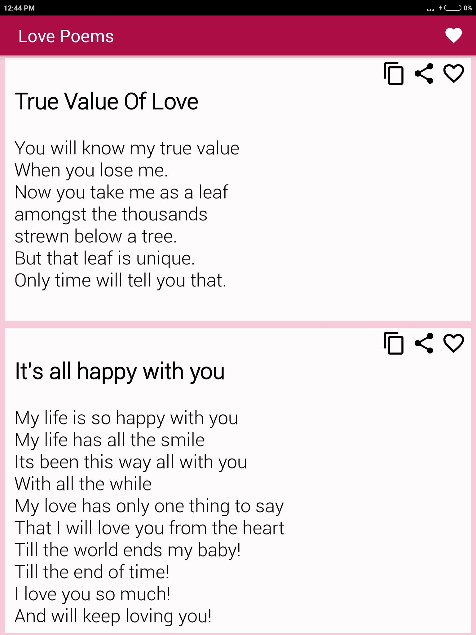 Beautiful Romantic Love Poems For Your Beloved for Android - APK