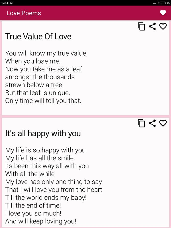Beautiful Romantic Love Poems For Your Beloved For Android Apk