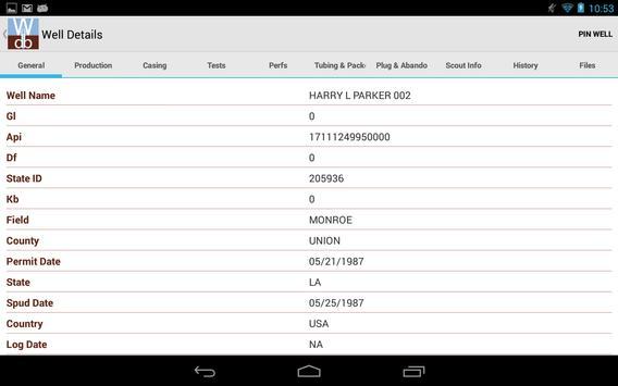 Well Database screenshot 16