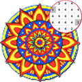 Mandala coloring - Color by number pixel art