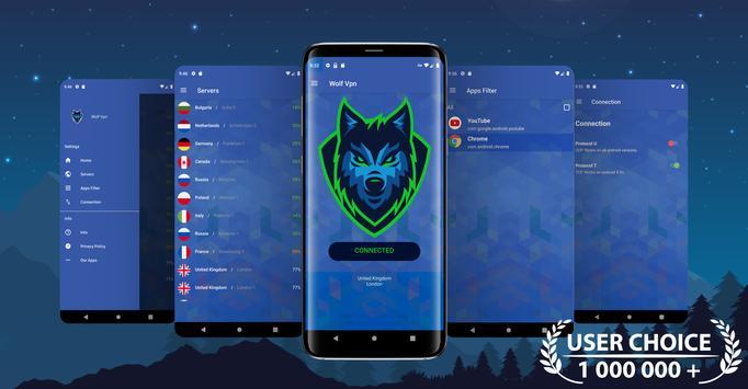 Wolf VPN Layanan Proxy VPN Gratis Tidak Terbatas poster