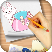 Draw cute Back to School Supplies - Kawaii drawing icon