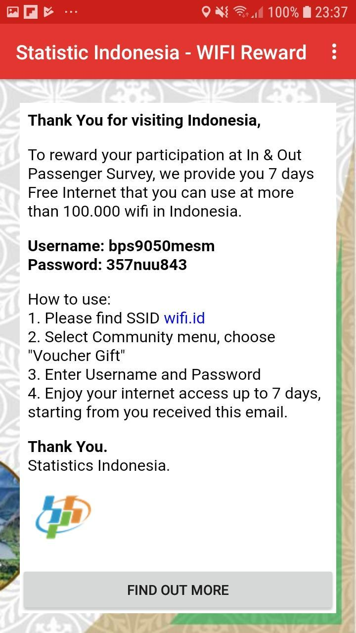 Statistic indonesia - WIFI Reward for Android - APK Download
