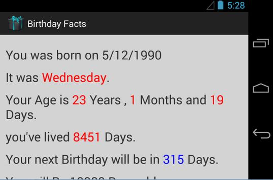 Birthday Facts screenshot 1