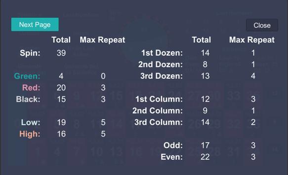 Roulette Statistics screenshot 1