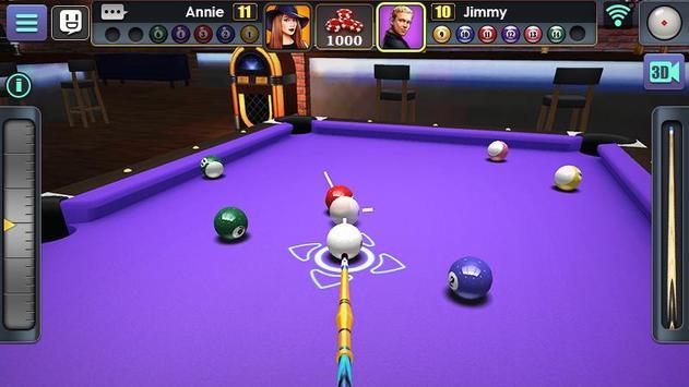 Jogo de Bilhar 3D imagem de tela 3