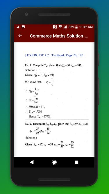 Maths Part 1 & 2 Solution 12th HSC Board Commerce for Android - APK
