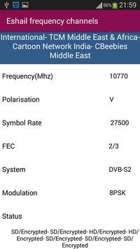 Es'hailSat Frequency Channels screenshot 3