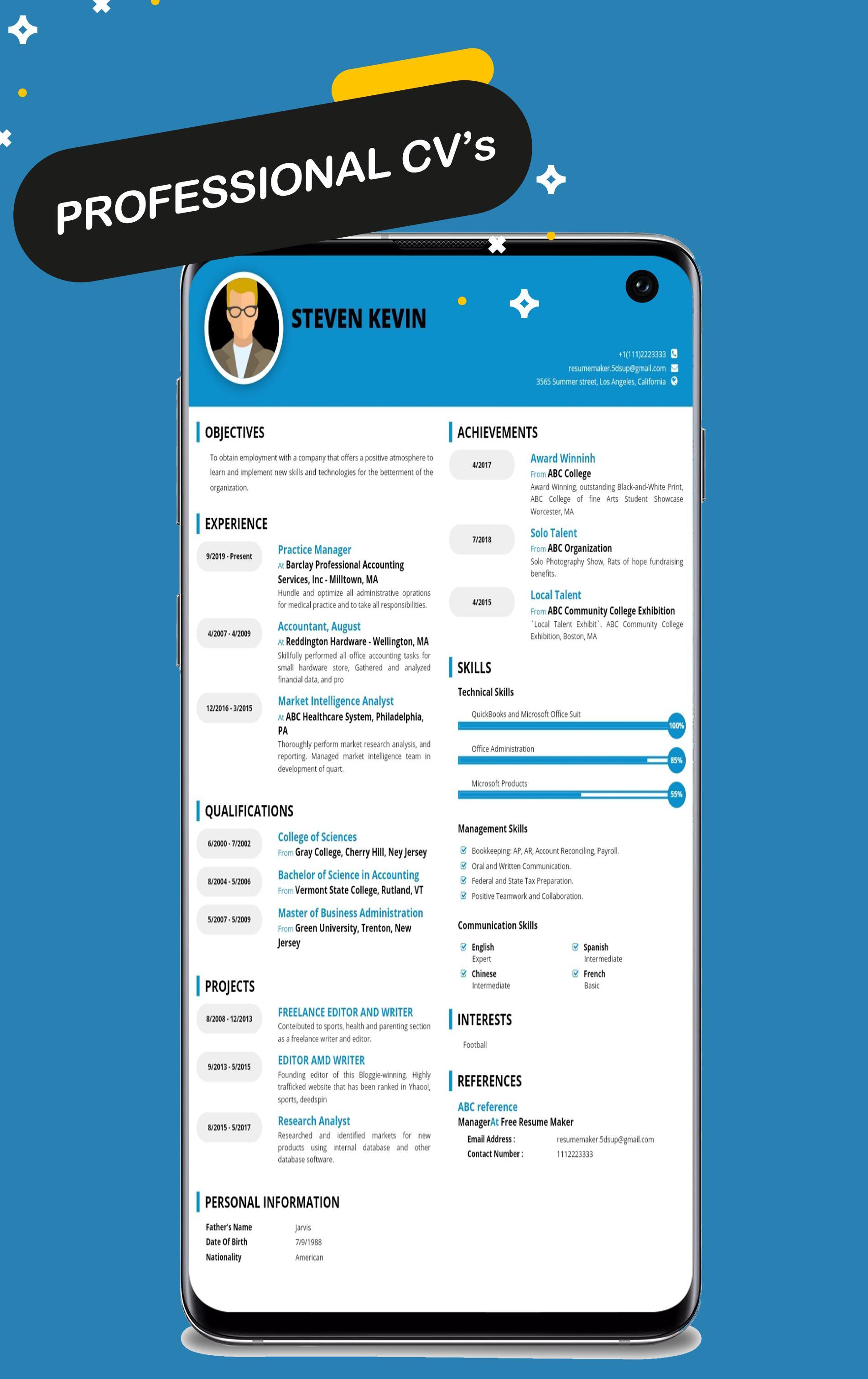 Free Resume Maker Cv Maker Templates Formats App For Android