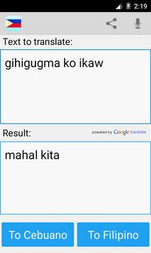 Filipino Cebuano Translator screenshot 1