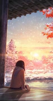 Anime winter snow live wallpaper poster