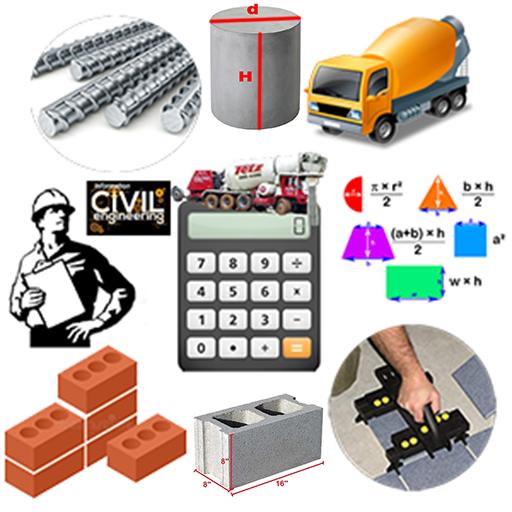 Construction Calculator (Concrete, Steel, Bricks)