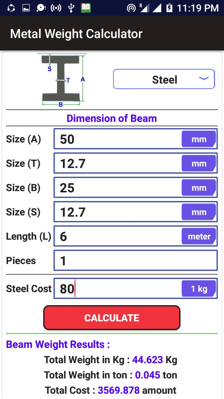 Metal Weight Calculator for Android - APK Download