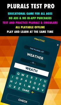 Plurals and Singulars Test & Practice PRO poster