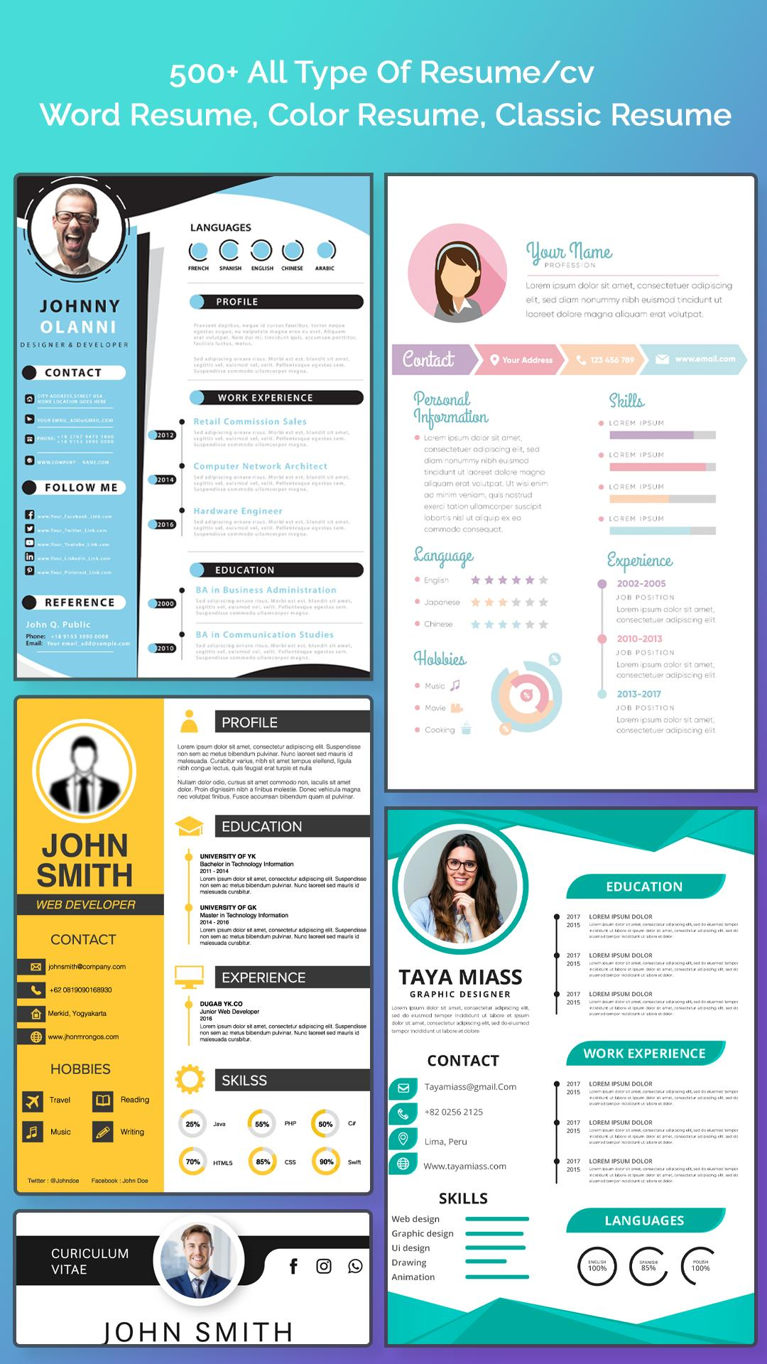 Resume Builder Free Cv Maker With Pdf Word Format For Android