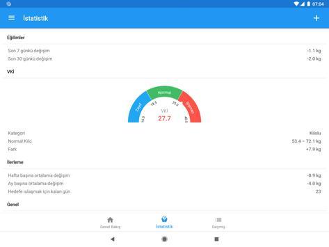 Ağırlık günlüğü ve BMI hesaplayıcısı – WeightFit Ekran Görüntüsü 4