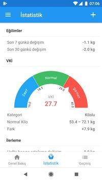 Ağırlık günlüğü ve BMI hesaplayıcısı – WeightFit Ekran Görüntüsü 7
