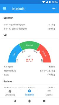 Ağırlık günlüğü ve BMI hesaplayıcısı – WeightFit Ekran Görüntüsü 1