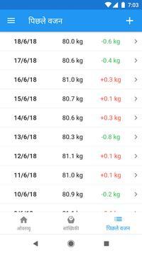 वजन डायरी और बीएमआई कैलकुलेटर – WeightFit स्क्रीनशॉट 2