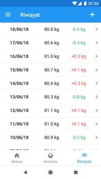 Diary berat & kalkulator BMI – WeightFit screenshot 5