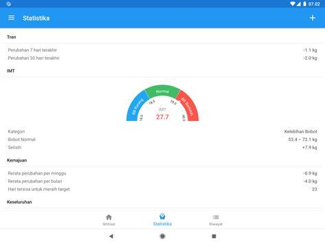 Diary berat & kalkulator BMI – WeightFit screenshot 8