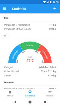 Diary berat & kalkulator BMI – WeightFit screenshot 2