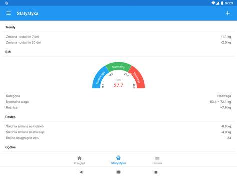 Pamiętnik wagi i kalkulator BMI – WeightFit screenshot 4