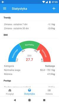 Pamiętnik wagi i kalkulator BMI – WeightFit screenshot 1