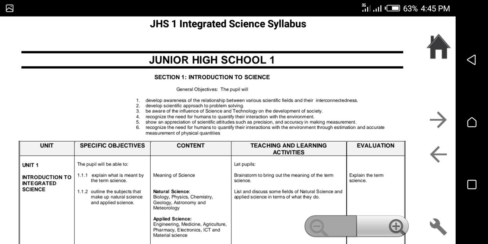 ... GES JHS Syllabus + SBA screenshot 4 ...