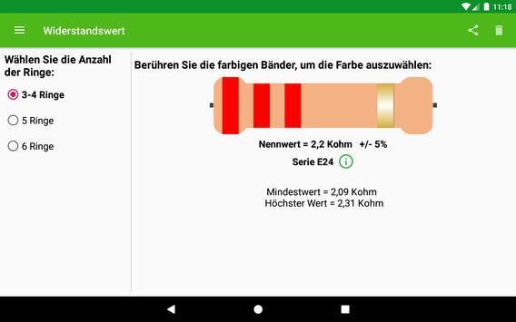 Widerstandswertberechnung Screenshot 3