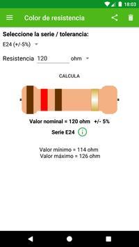 Cálculo del color de la resistencia. Poster