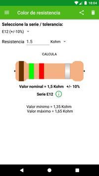Cálculo del color de la resistencia. captura de pantalla 1