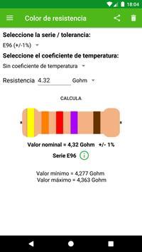 Cálculo del color de la resistencia. captura de pantalla 2