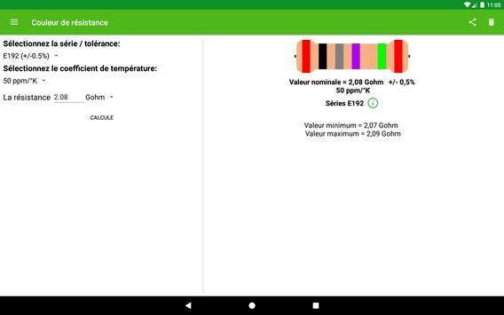Calcul de la couleur de la résistance capture d'écran 3