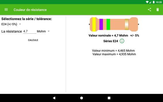 Calcul de la couleur de la résistance capture d'écran 5