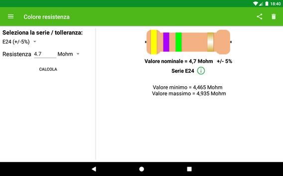 Calcolo colore resistenza تصوير الشاشة 5