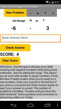 Algebra Negative Numbers - +*/ screenshot 3