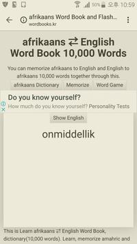 Learn Afrikaans to English Word Book poster
