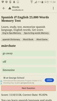 Memorize Spanish to English Words - Quiz test screenshot 2