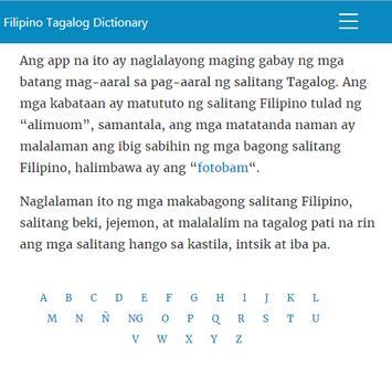 Filipino Tagalog Diksyunari-poster