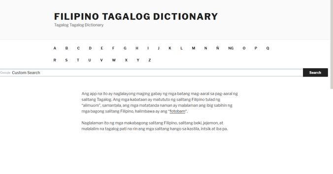 Filipino Tagalog Diksyunari screenshot 1
