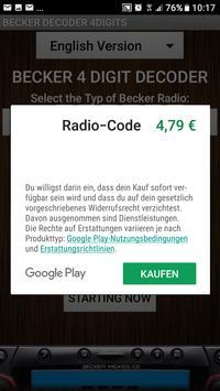 Becker 4Digit Radio Code screenshot 2