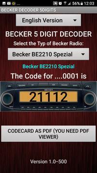 Becker 5Digit Radio Code screenshot 4