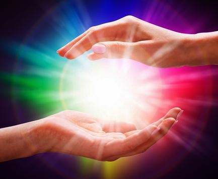 Learn Reiki Imposition of hands. Energy poster