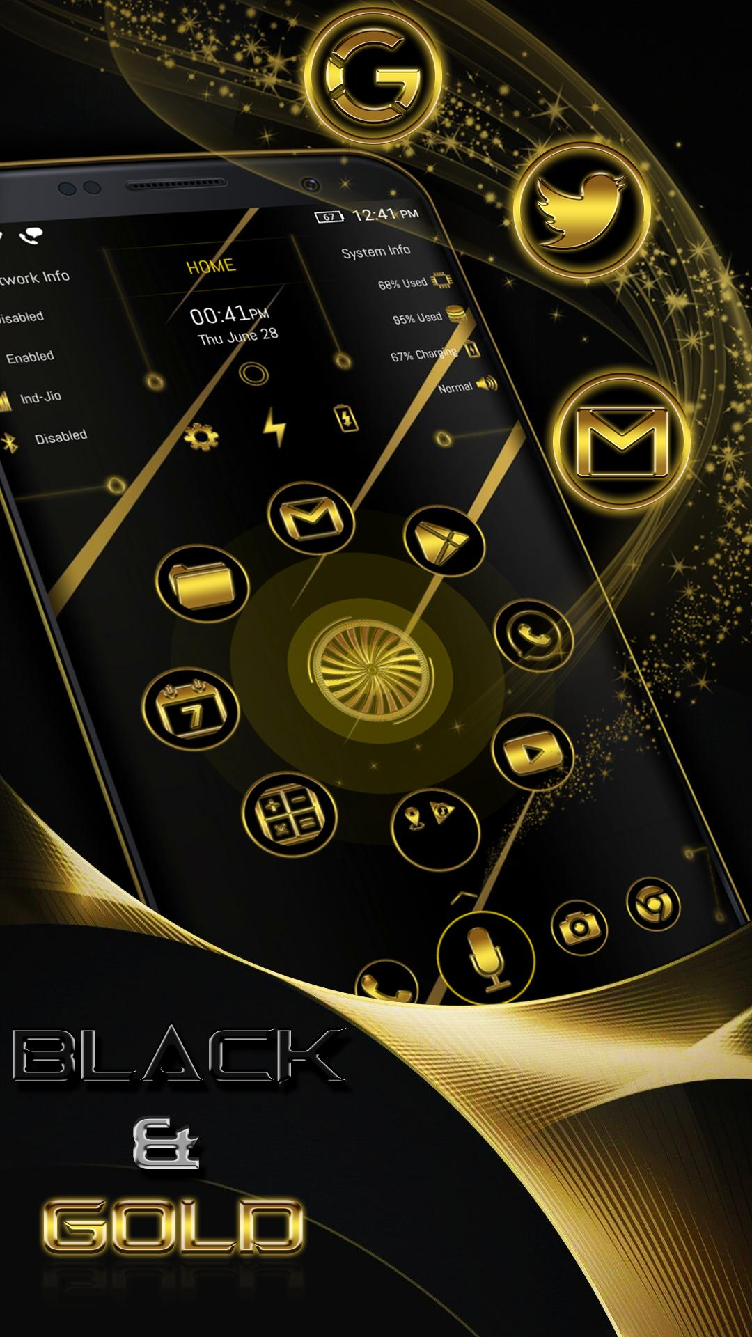 Arc Launcher Gold and Black Theme + Icon Pack for Android - APK Download