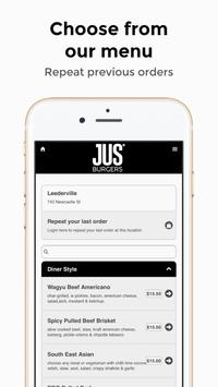 Jus Burgers Online Ordering App screenshot 1