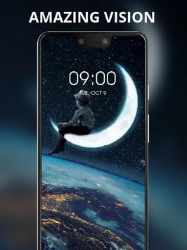 Boy sitting on the moon live wallpaper poster